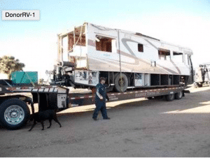 RV on a All Day Auto Transport Low Boy
