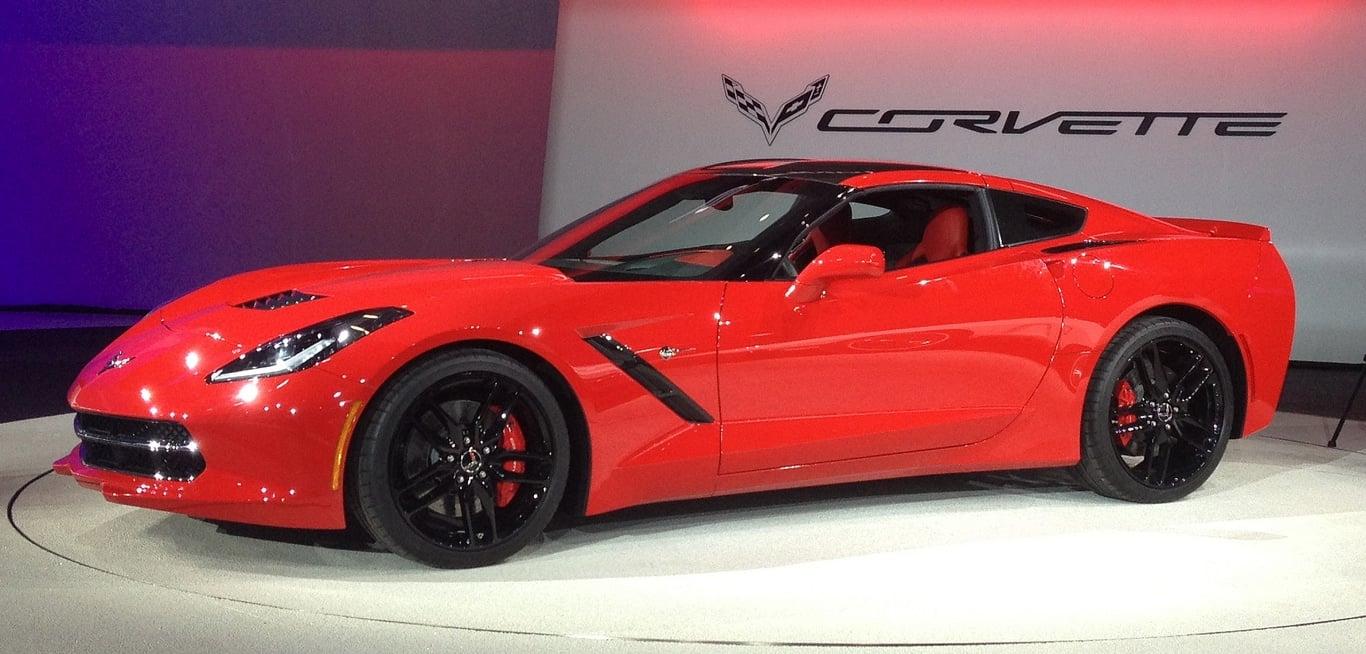 red luxury corvette car